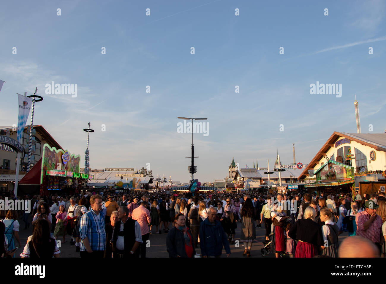 People at the Oktoberfest, wiesn, 2018, - Stock Image
