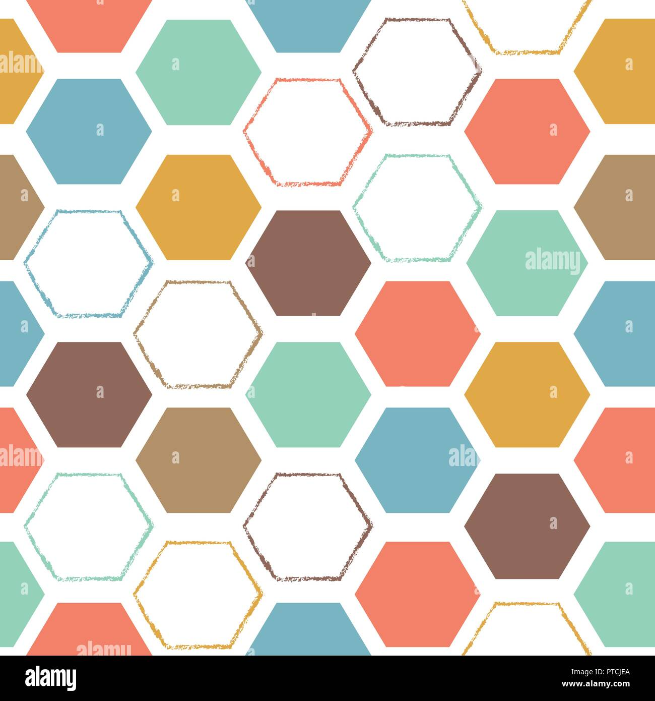 Vector Abstract Hexagonal Colorful Seamless Pattern Background Ideal For Fabrics Textiles Scrapbooking Wallpapers And Crafts Stock Vector Image Art Alamy