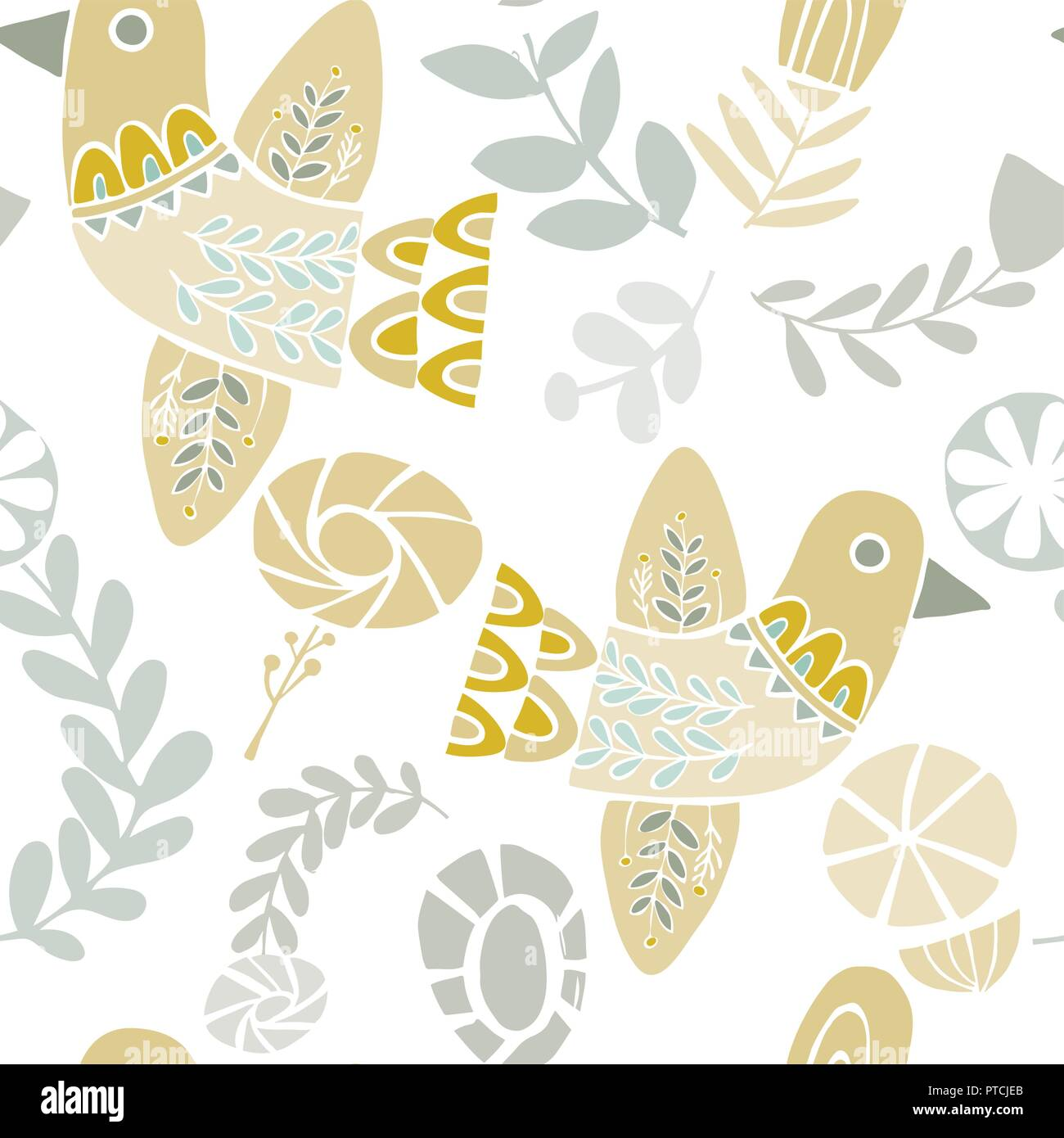 Vector Pastel Folkloric Birds And Flowers Seamless Pattern On A White Background Ideal For Crafts Fabrics Wrapping Paper Wallpaper Stock Vector Image Art Alamy