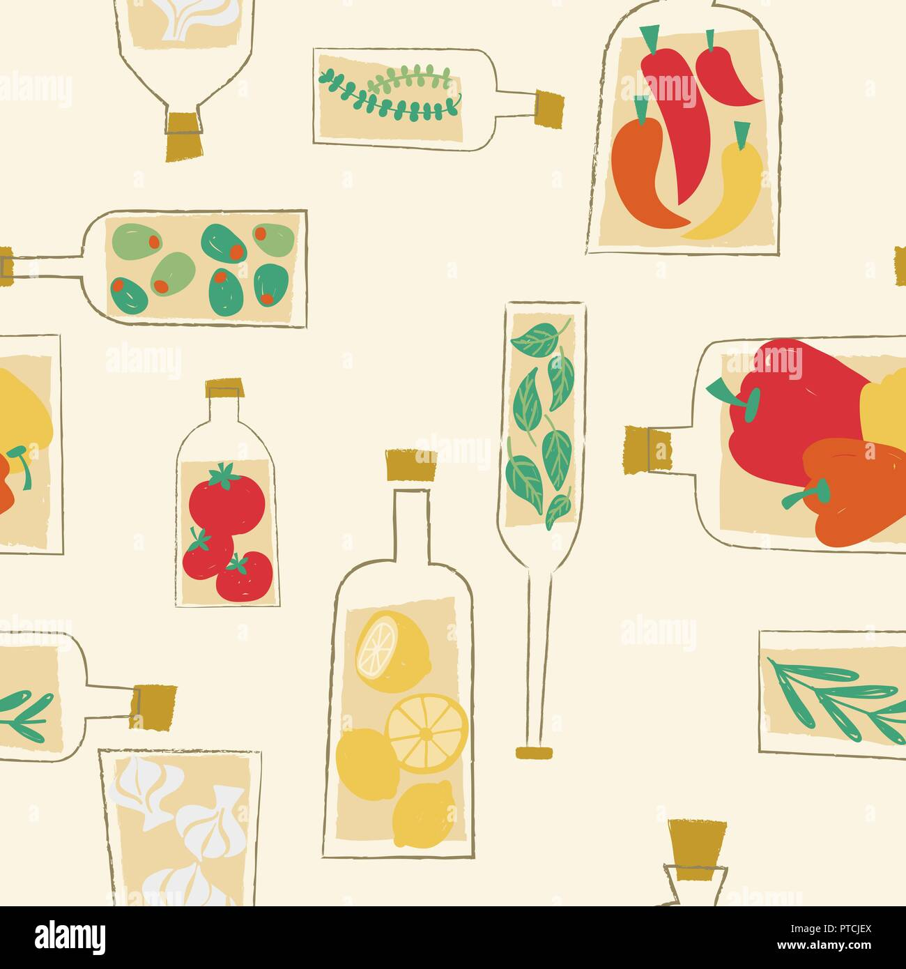 Vector decorative kitchen bottles seamless pattern background. Perfect for crafting projects, scrapbooking or fabrics. - Stock Vector