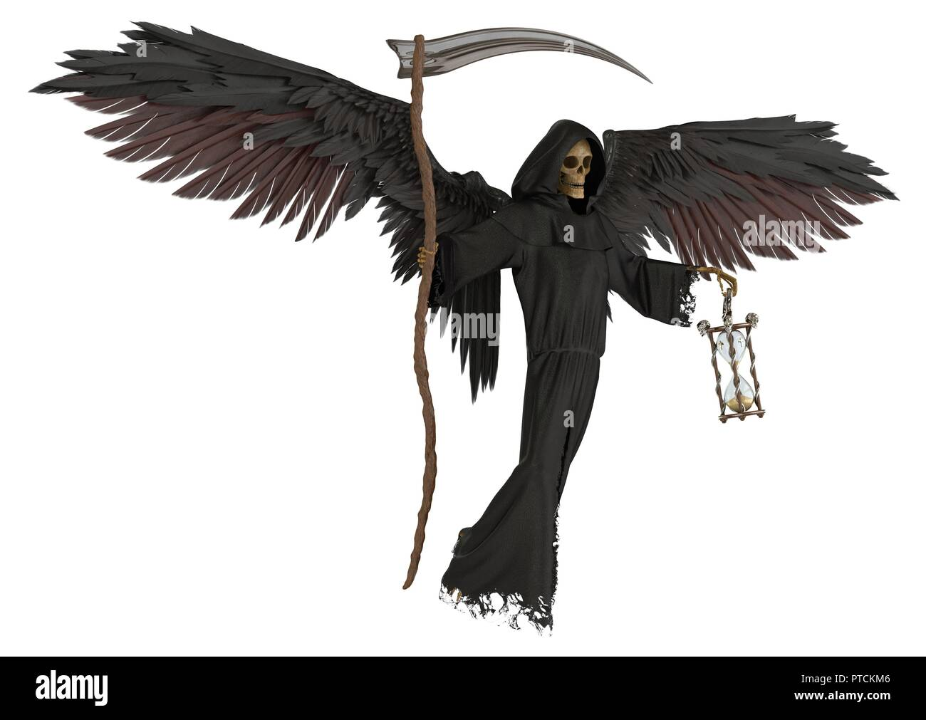 3d illustration angel of death isolated on white background