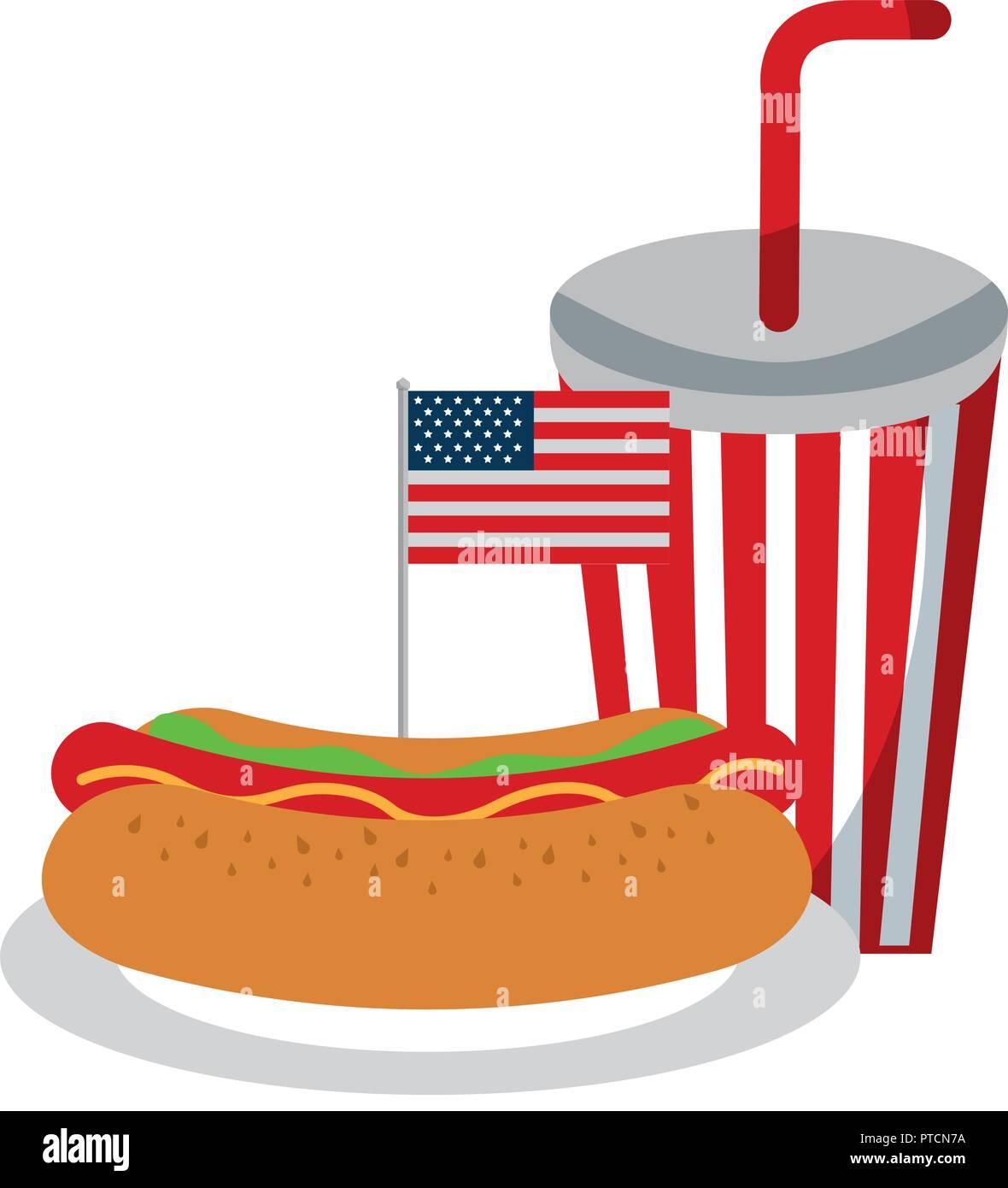 518a453d8e9a hot dog soda flag american food celebration vector illustration ...