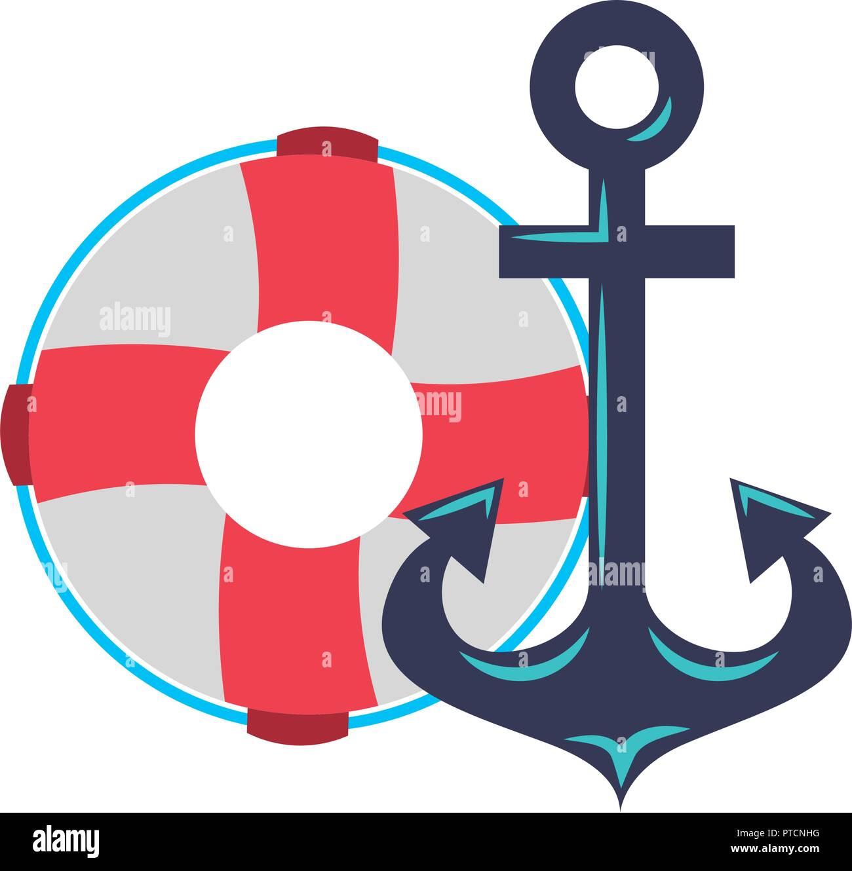 maritime anchor and lifebuoy navy - Stock Image