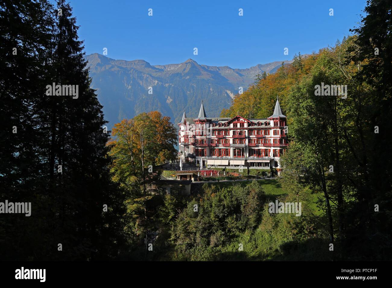 A view of the GrandHotel Giessbach located in Brienz, Switzerland. Stock Photo
