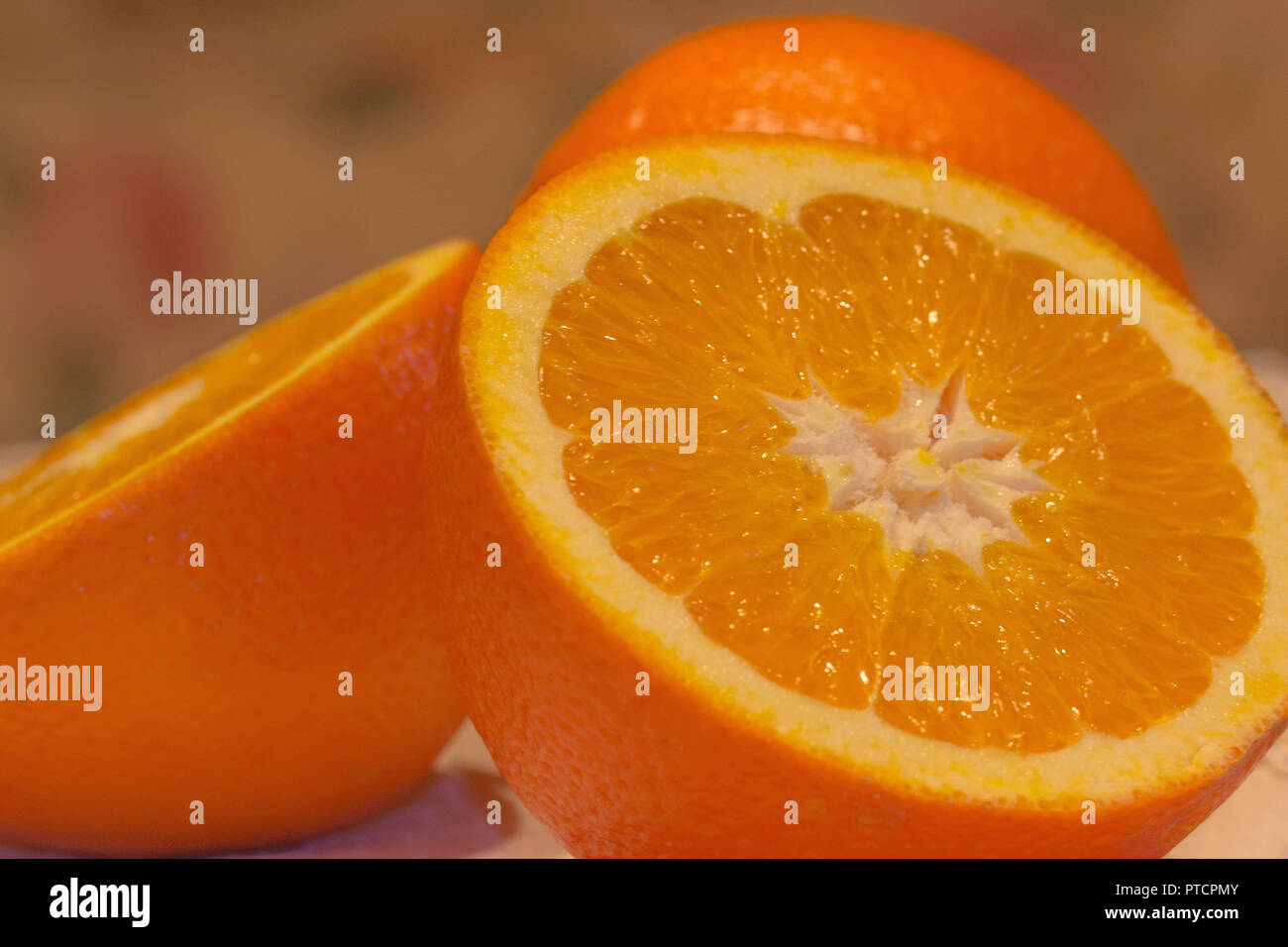 fresh delicious healthy orange before making food  or juice - Stock Image