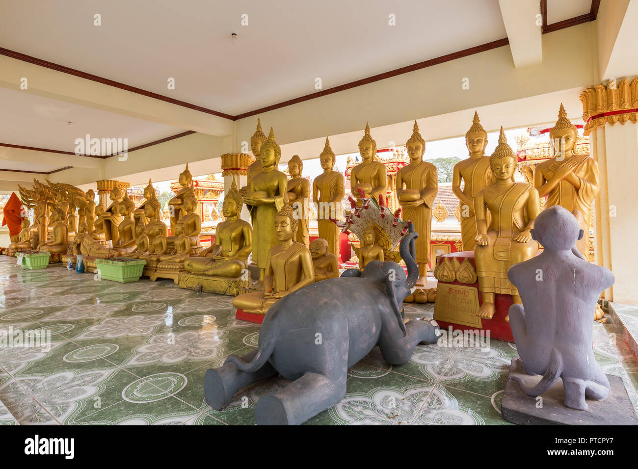 Two animal sculptures and many gilded Buddha statues at the Wat That Luang Tai Temple in Vientiane, Laos. - Stock Image