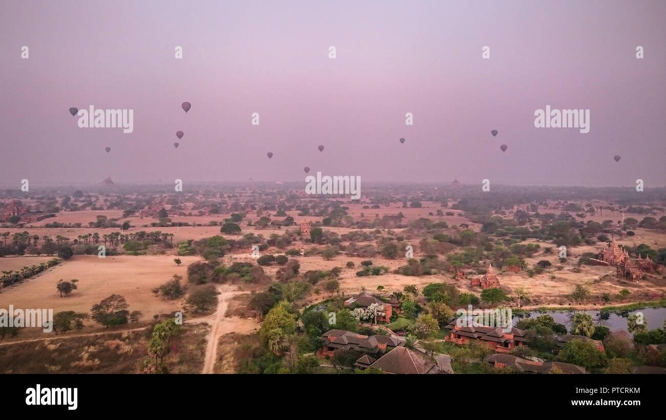 myanmar, bagan, birma travel, hot air balloons - Stock Image