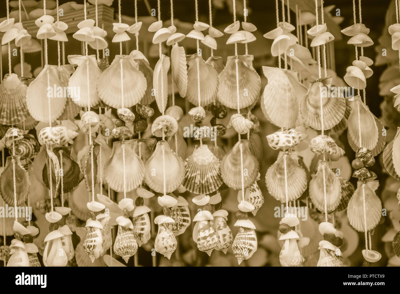 Vintage Mobile Made From Variety Seashells For Background Beautiful