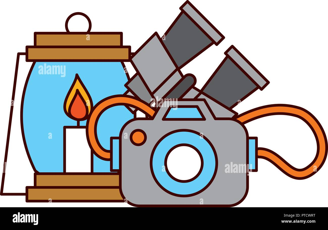 binoculars lantern and camera safari equipment supplies - Stock Vector