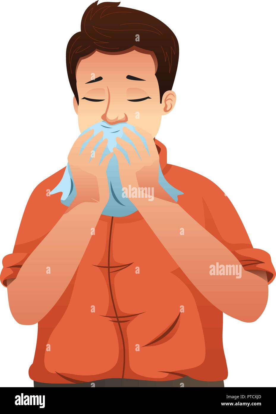 A vector illustration of Sick Man Blowing His Nose on a Tissue - Stock Vector