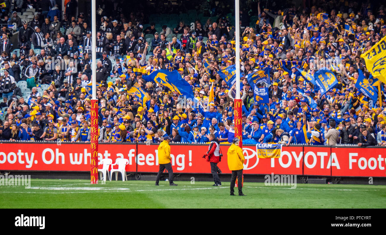 West Coast Eagles cheer squad at 2018 AFL Grand Final at MCG Melbourne Victoria Australia. - Stock Image