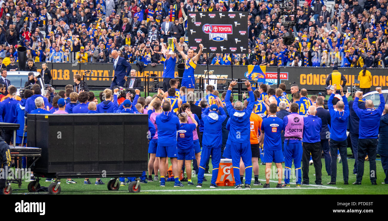 West Coast Eagles premiership player and captain Shannon Hurn Adam Simpson celebrating after 2018 AFL Grand Final at MCG Melbourne Victoria Australia. - Stock Image