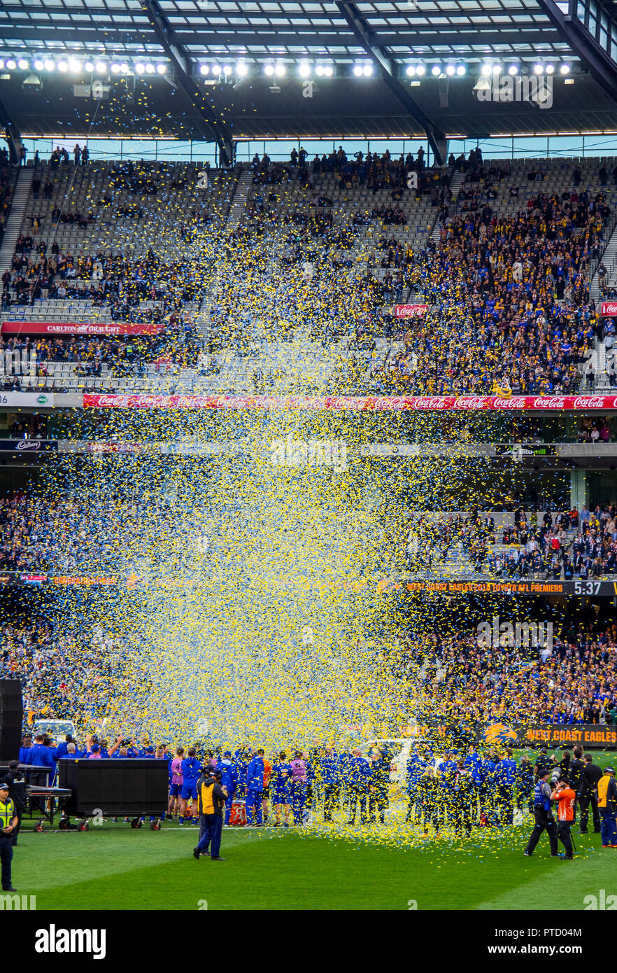 Confetti, West Coast Eagles premiership players celebrating after 2018 AFL Grand Final at MCG Melbourne Victoria Australia. - Stock Image