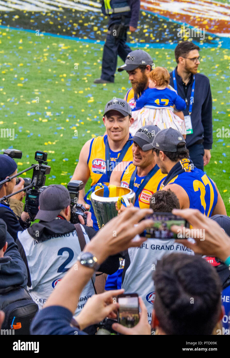 West Coast Eagles premiership players Jeremy McGovern and Josh Kennedy celebrating after 2018 AFL Grand Final at MCG Melbourne Victoria Australia. - Stock Image