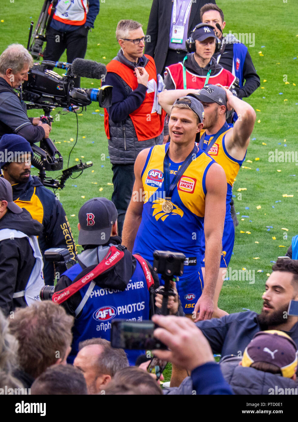 West Coast Eagles premiership player Nathan Vardy celebrating after 2018 AFL Grand Final at MCG Melbourne Victoria Australia. - Stock Image