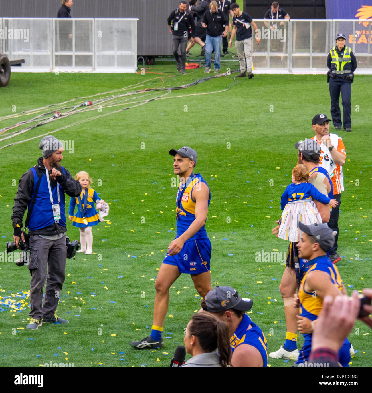 West Coast Eagles premiership players Dom Sheed and Liam Duggan celebrating after 2018 AFL Grand Final at MCG Melbourne Victoria Australia. - Stock Image