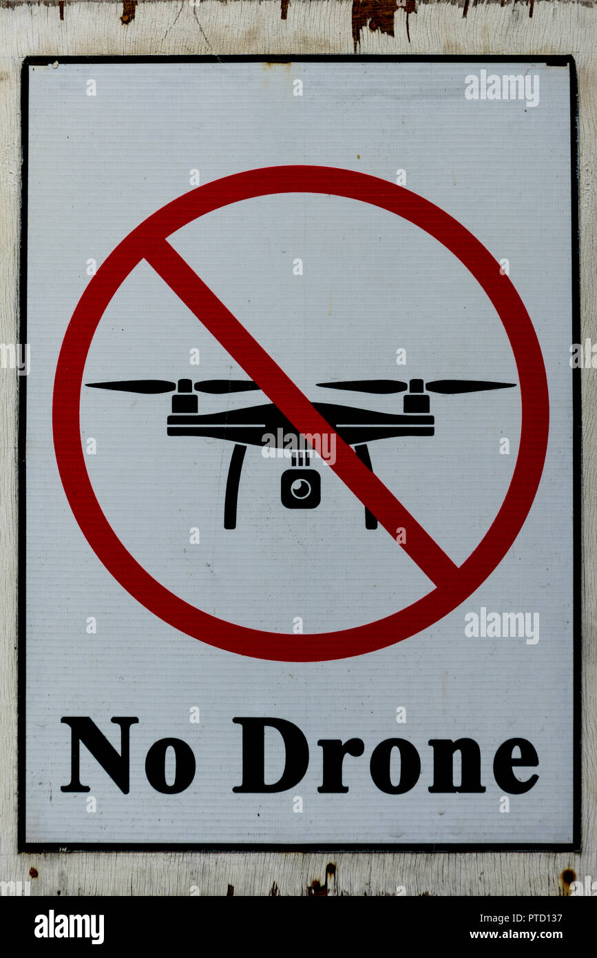 Prohibition sign No Drone, Switzerland - Stock Image