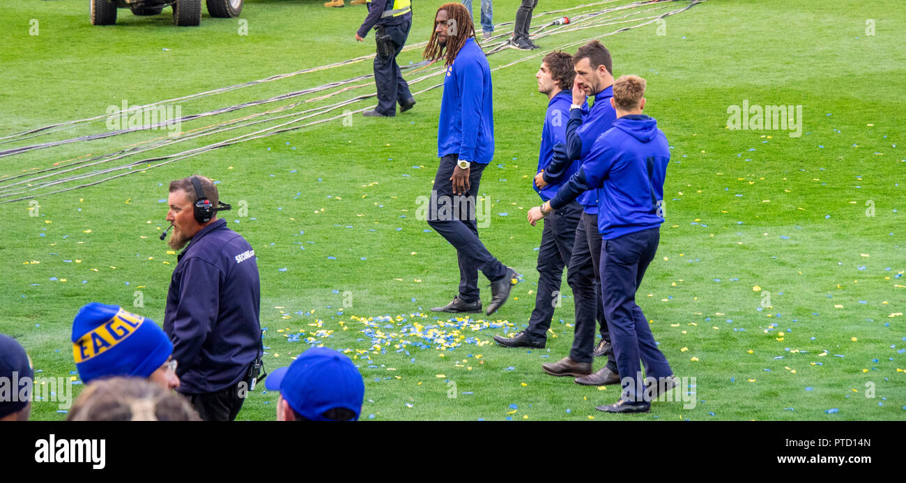 West Coast Eagles players Nic Natanui Andrew Gaff Eric McKenzie and Brad Sheppard at 2018 AFL Grand Final at MCG Melbourne Victoria Australia. - Stock Image
