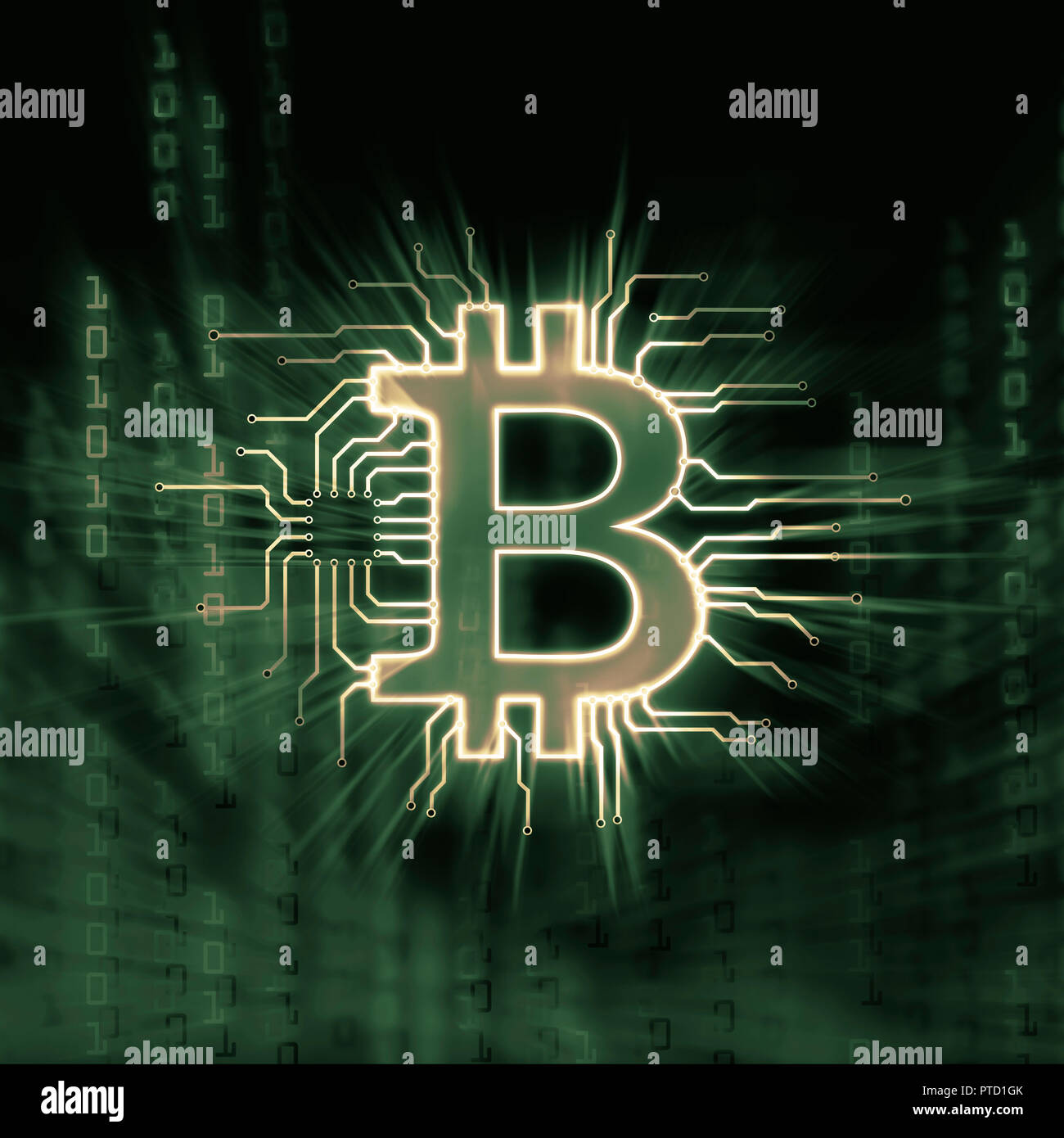 Symbolic picture, Bitcoin, cryptocurrency, digital currency, logo connected to a blockchain network in green colors - Stock Image