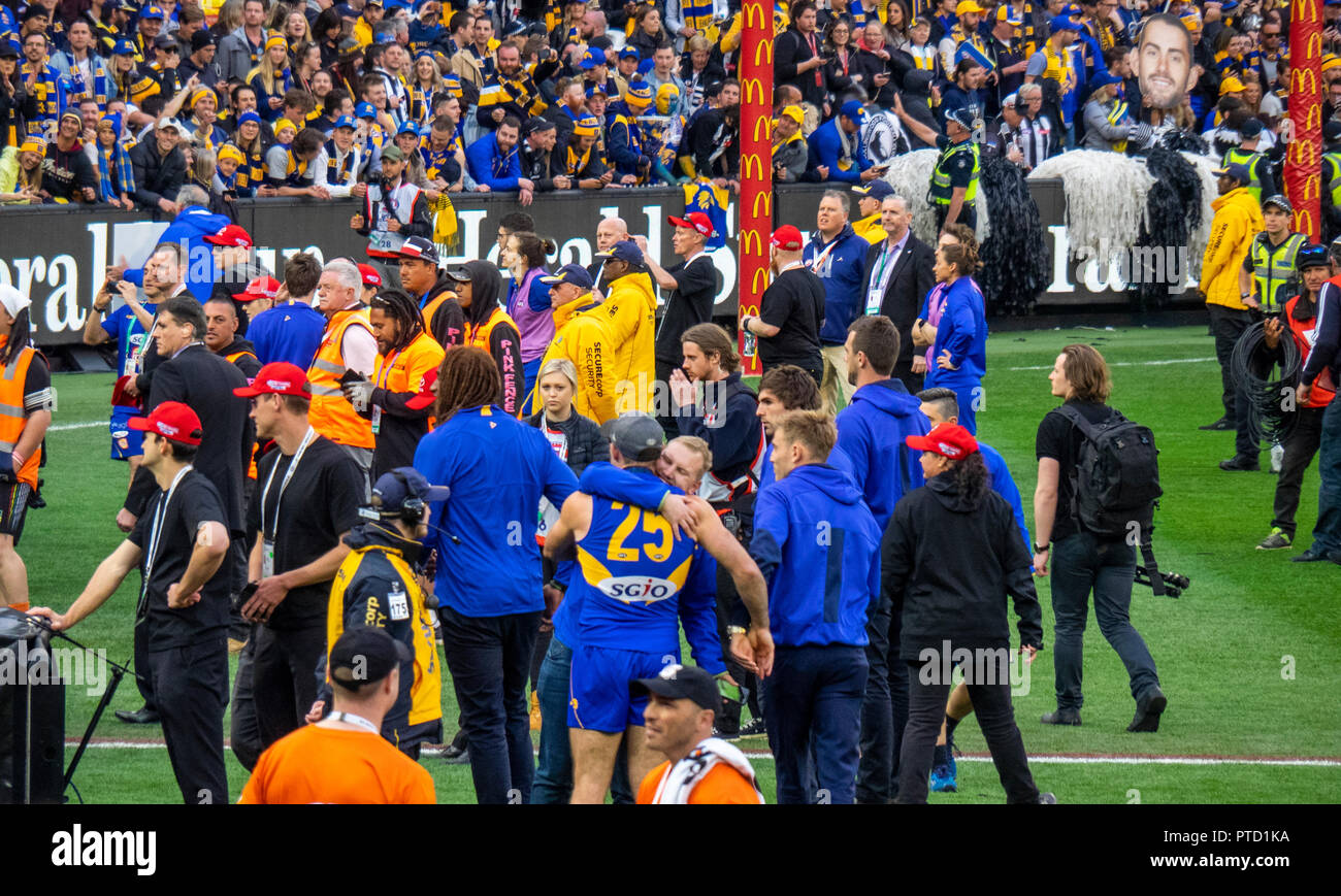 West Coast Eagles premiership players celebrating after 2018 AFL Grand Final at MCG Melbourne Victoria Australia. - Stock Image
