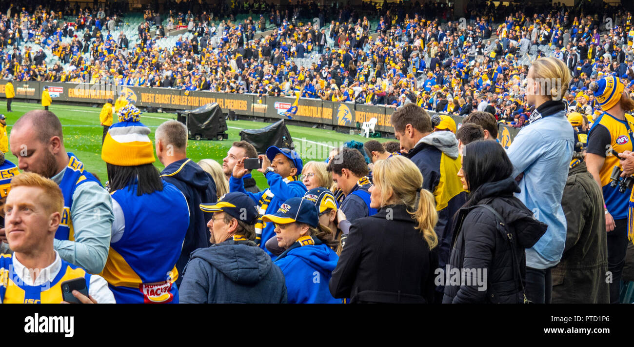 West Coast Eagles and Collingwood fans and supporters at 2018 AFL Grand Final at MCG Melbourne Victoria Australia. - Stock Image
