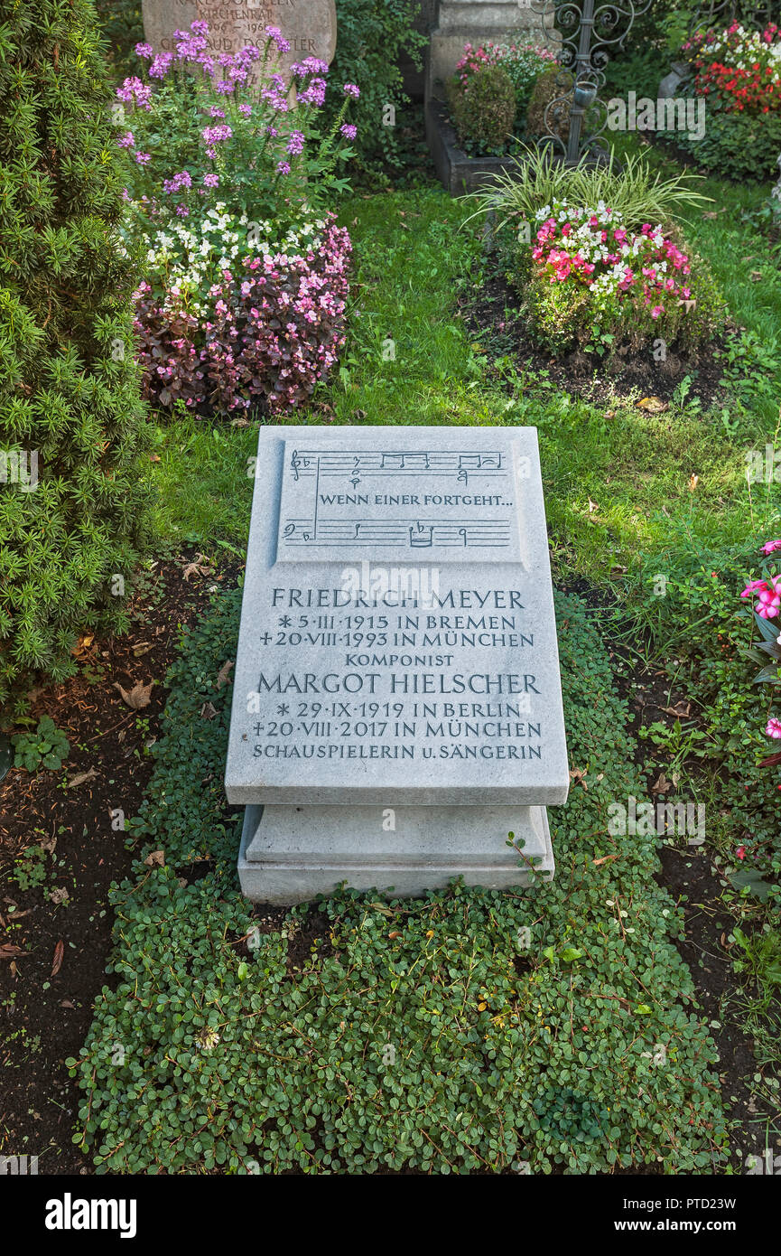Grave of Margot Hielscher, 1919-2017, actress, and Friedrich Meyer, 1915-1993, composer, cemetery of the catholic branch church - Stock Image