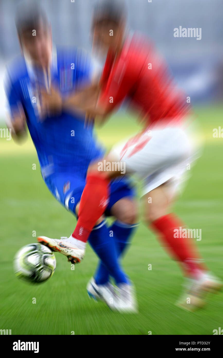 Soccer duel, Two soccer players, Motion blur, Switzerland - Stock Image