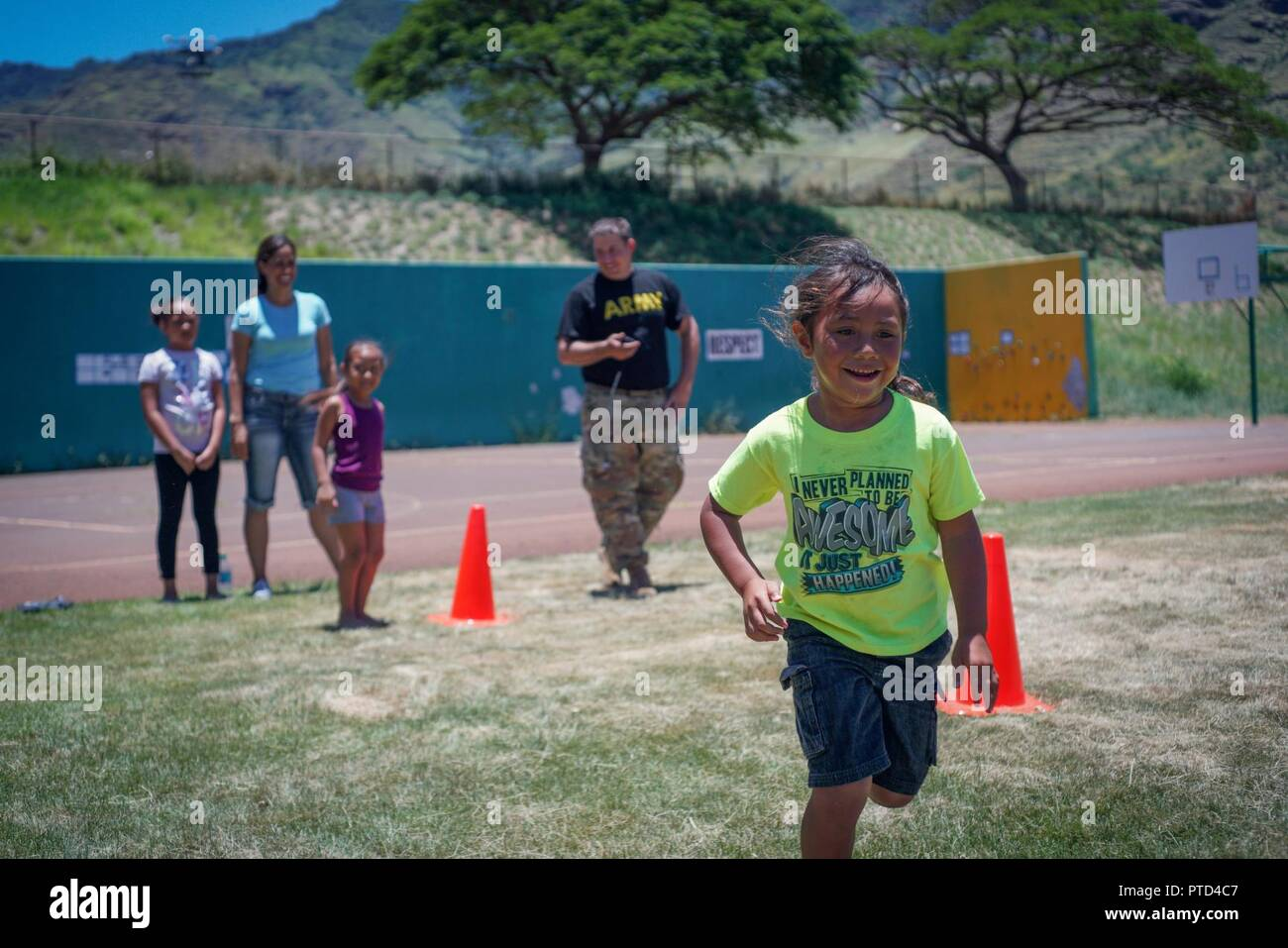 A Nanakuli Elementary School Student Sprints To The Next Station Of