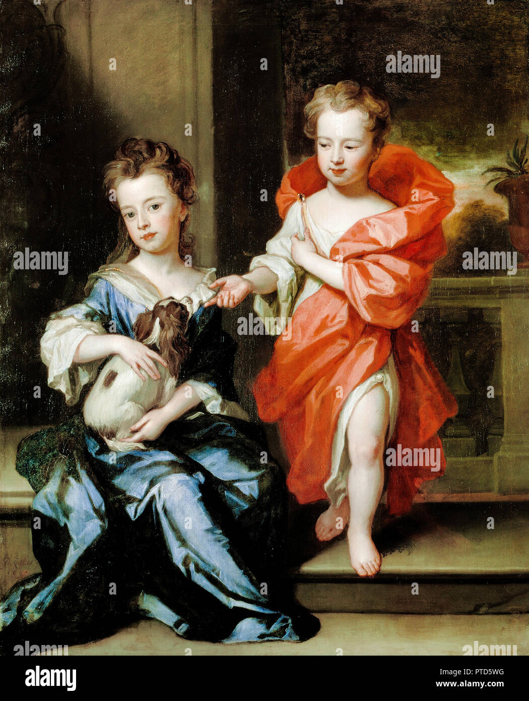 Godfrey Kneller, The Howard Children 1695 Oil on canvas, Dulwich Picture Gallery, London, England. - Stock Image