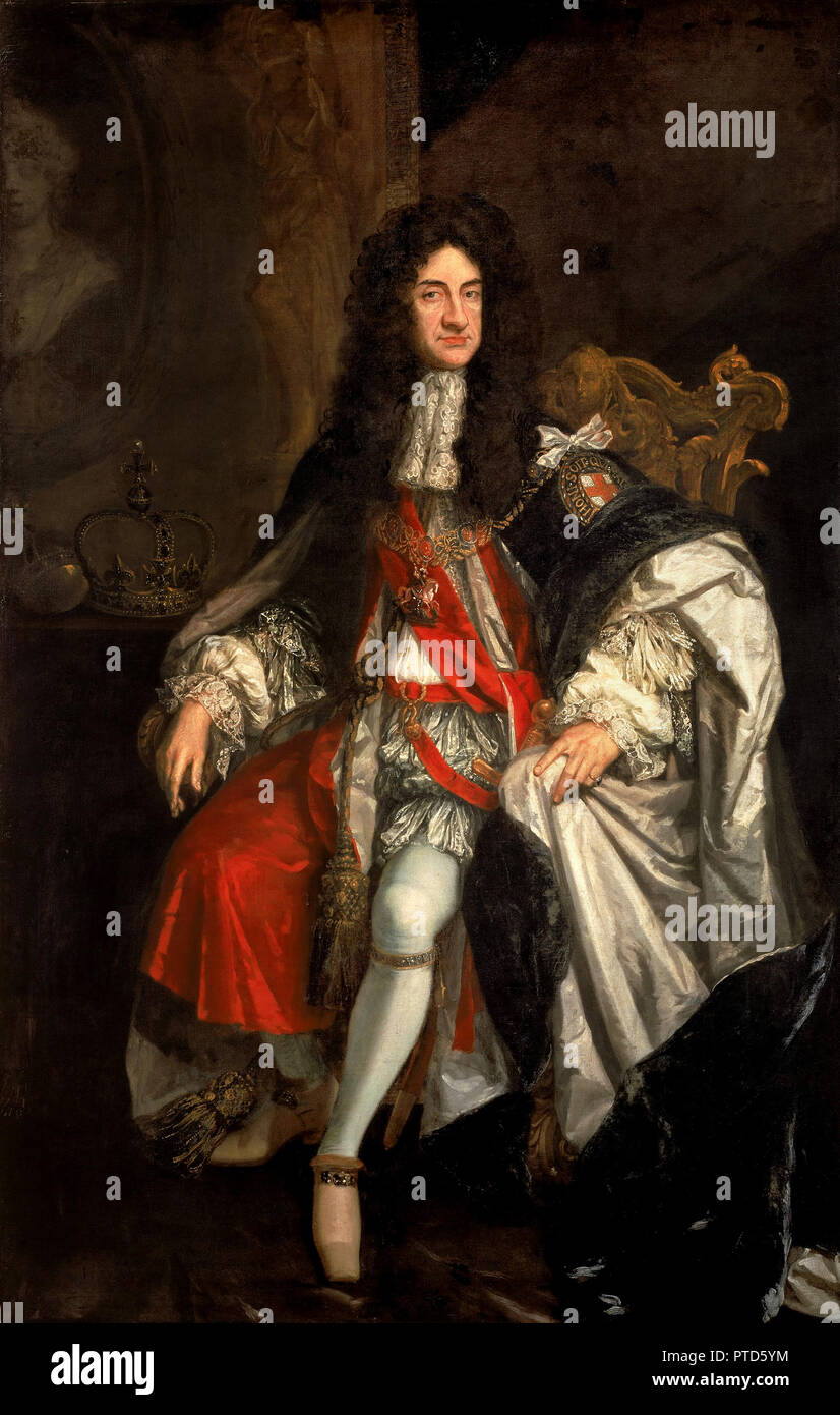 Godfrey Kneller, King Charles II, Circa 1685-1865 Oil on canvas, Walker Art Gallery, Liverpool, England. - Stock Image