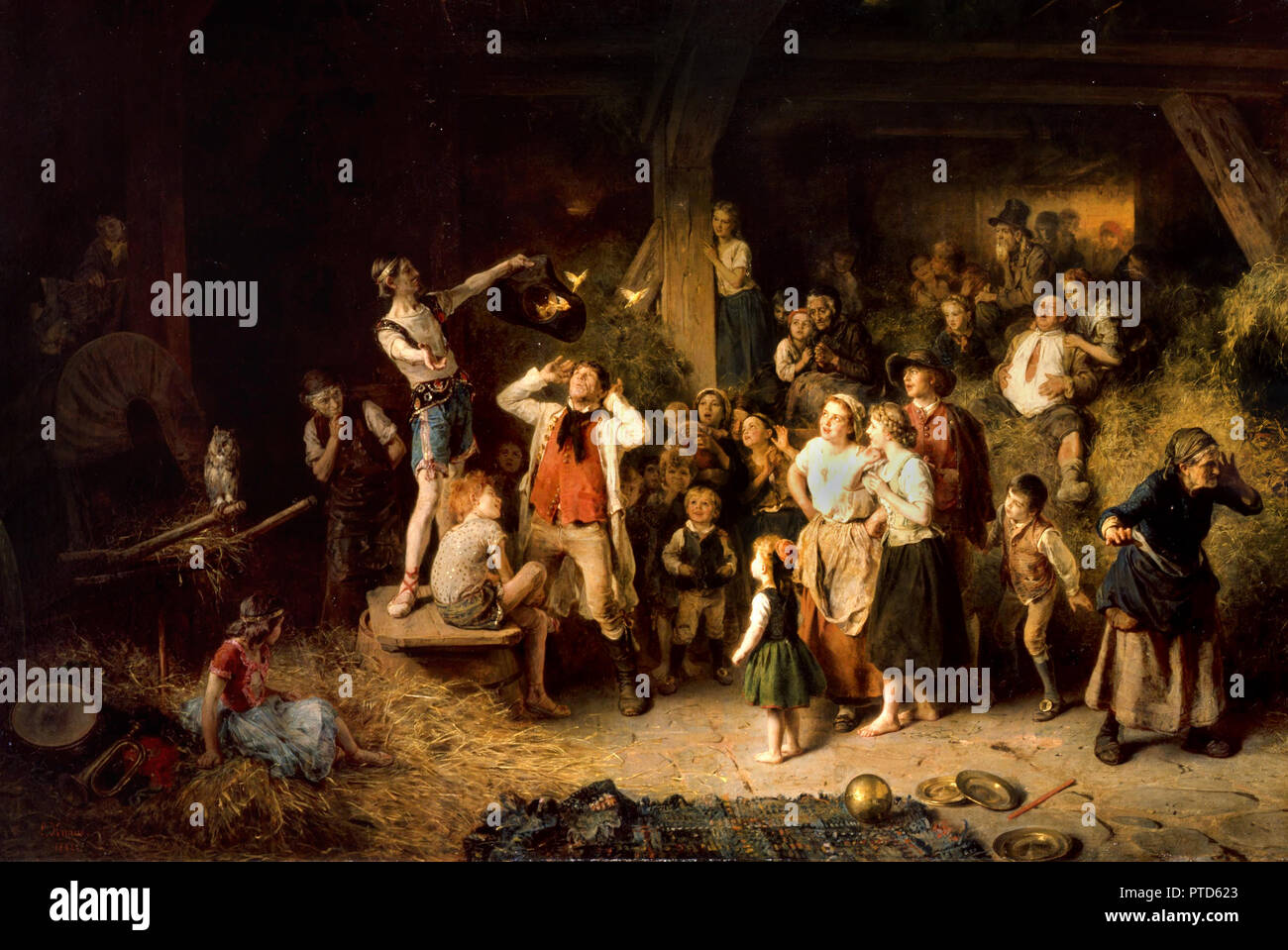 Ludwig Knaus, The Magician in the Barn 1862 Oil on panel, Grohmann Museum, Milwaukee, USA. - Stock Image