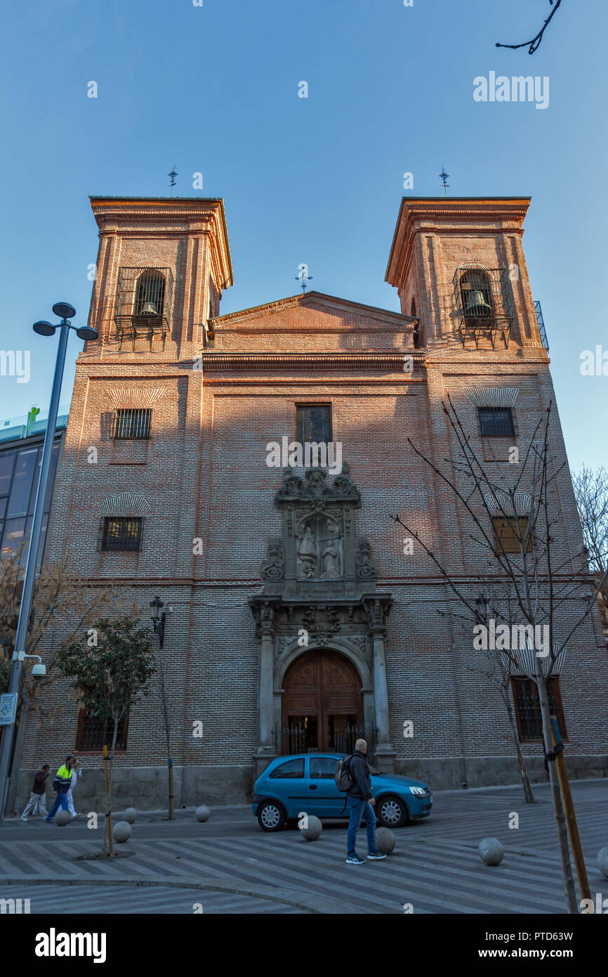 MADRID, SPAIN - JANUARY 24, 2018:  Amazing Morning view of Iglesia de San Martin de Tours in City of Madrid, Spain - Stock Image