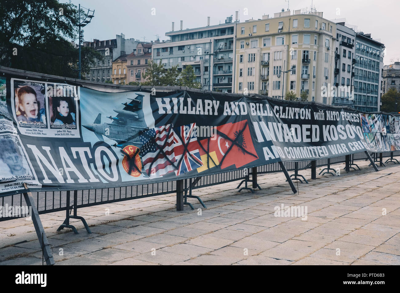 Anti-NATO protest banners outside the House of the National Assembly of Serbia, Belgrade, Serbia, Balkans, September 2018 - Stock Image