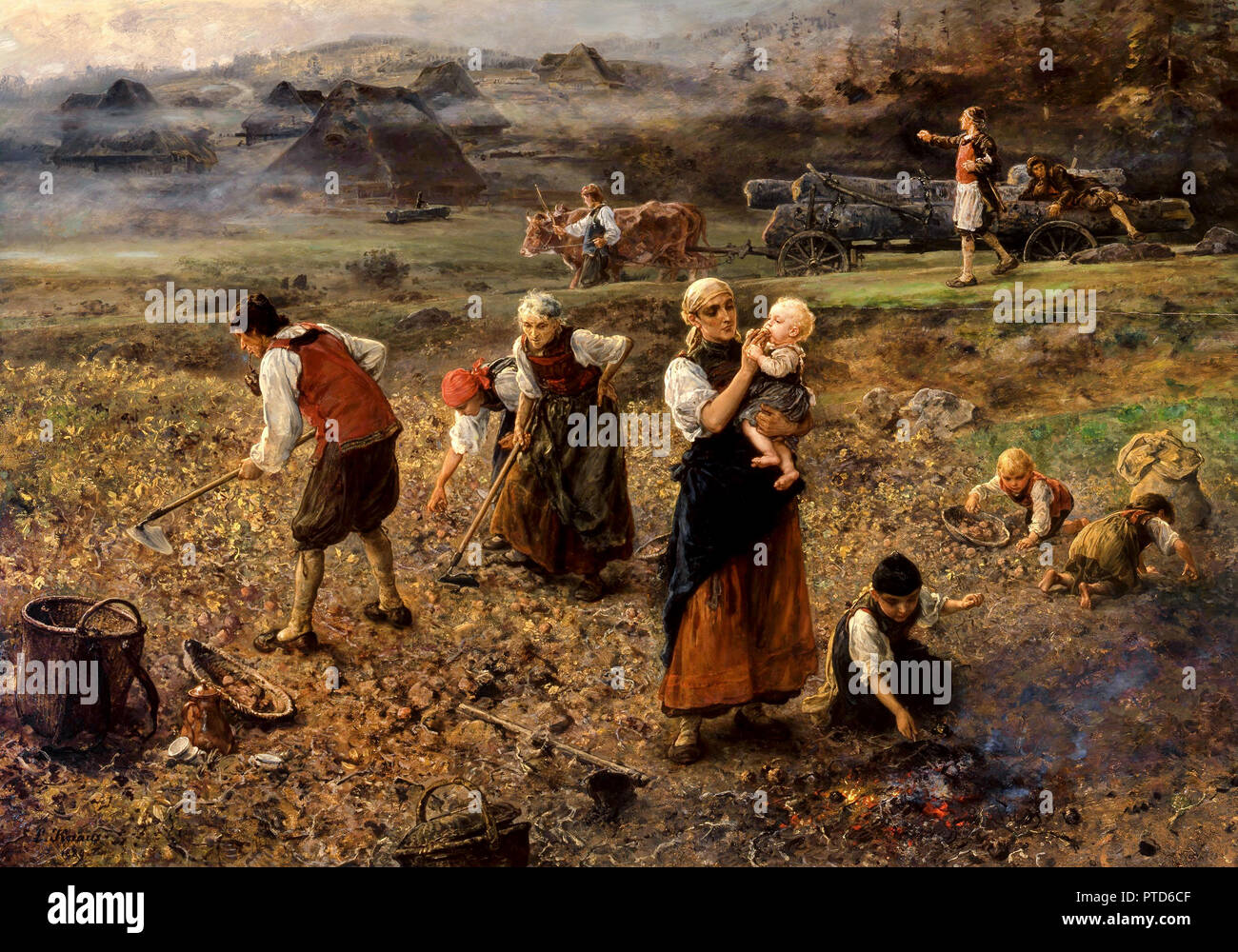 Ludwig Knaus, Potato Harvest 1889 Oil on panel, Grohmann Museum, Milwaukee, USA. - Stock Image