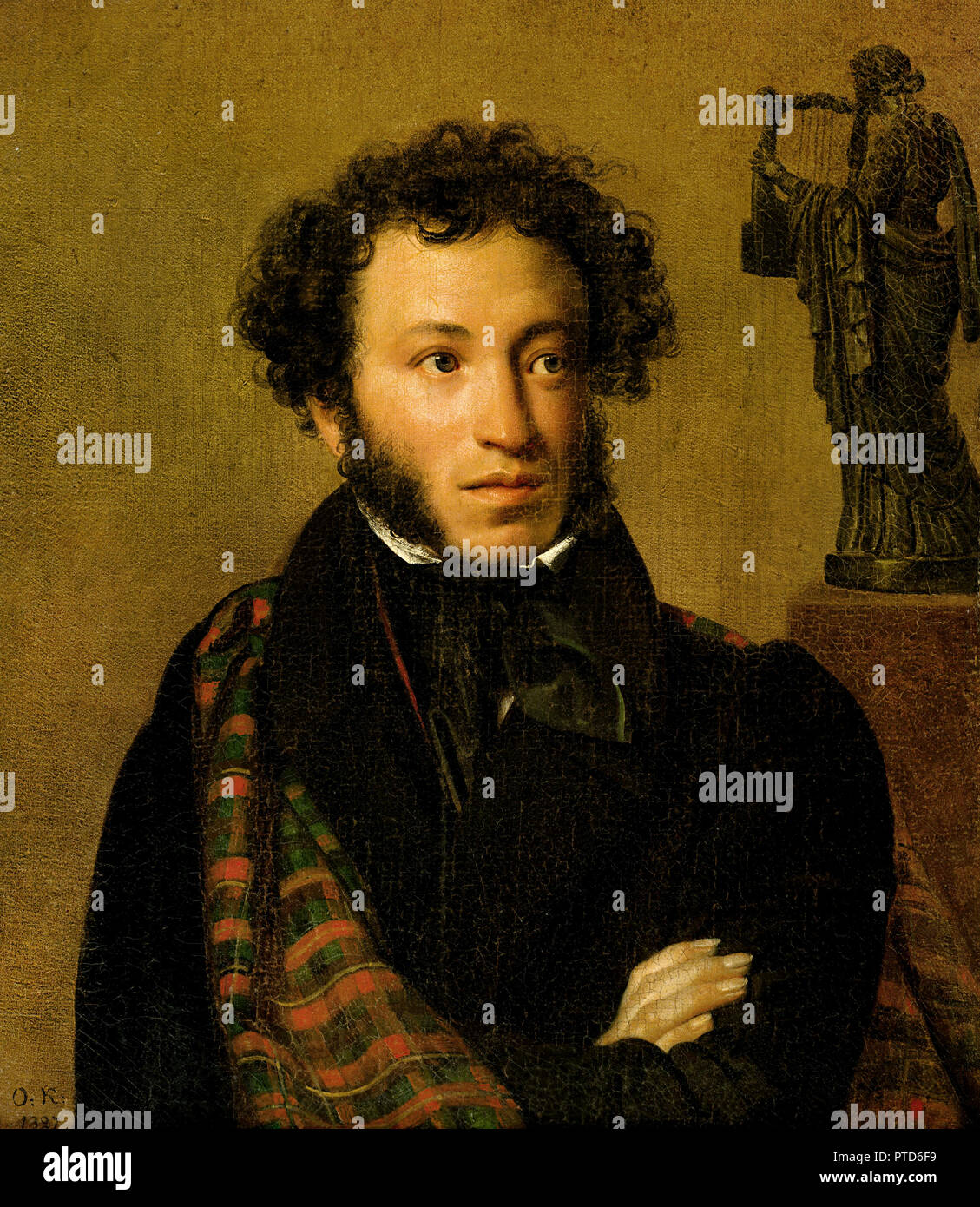 Orest Kiprensky, Portrait of A.S.Pushkin 1827 Oil on canvas, Tretyakov Gallery, Moscow, Russia. - Stock Image