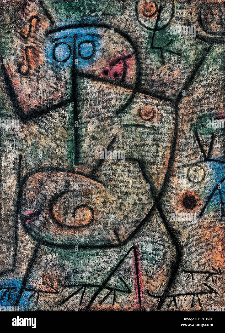 Paul Klee, Oh! These Rumors! 1939 Oil on canvas, Beyeler Foundation, Riehen, Switzerland. - Stock Image