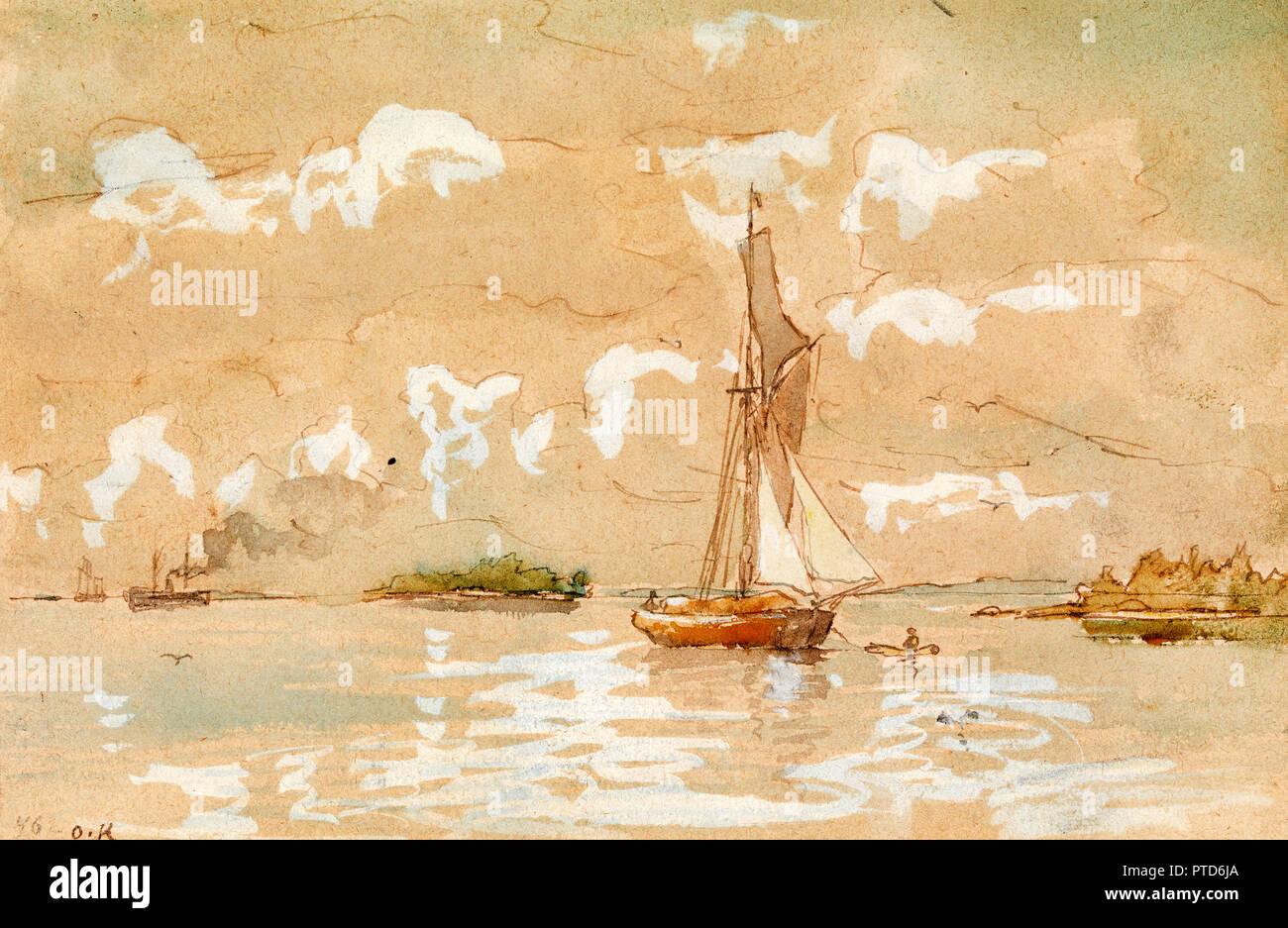 Oscar Kleineh, Sea Landscape, Circa 1890-1919, Watercolor, EMMA Espoo Museum of Modern Art, Finland. - Stock Image