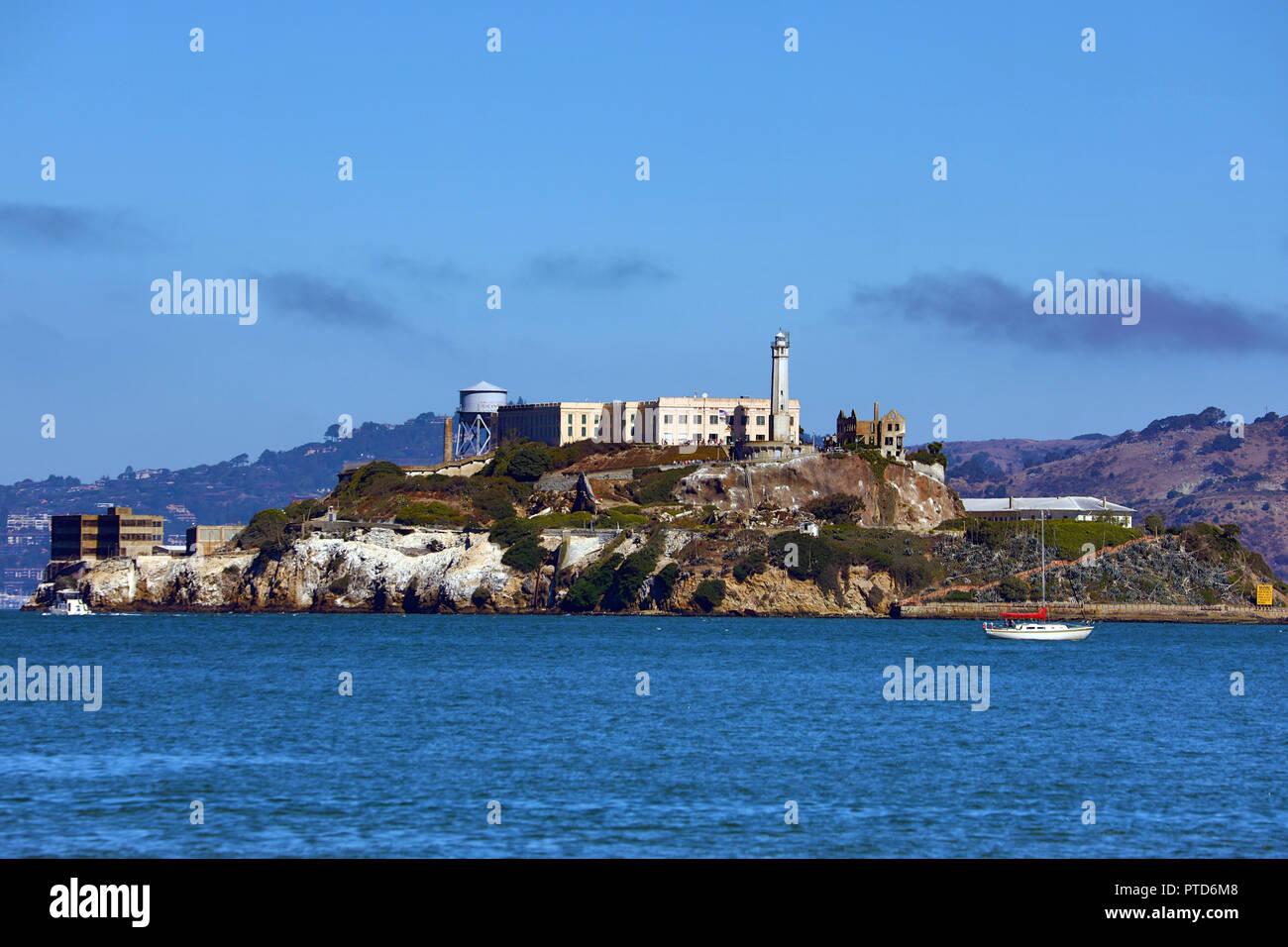 Alcatraz Island and Prison in San Franciso, California, USA - Stock Image