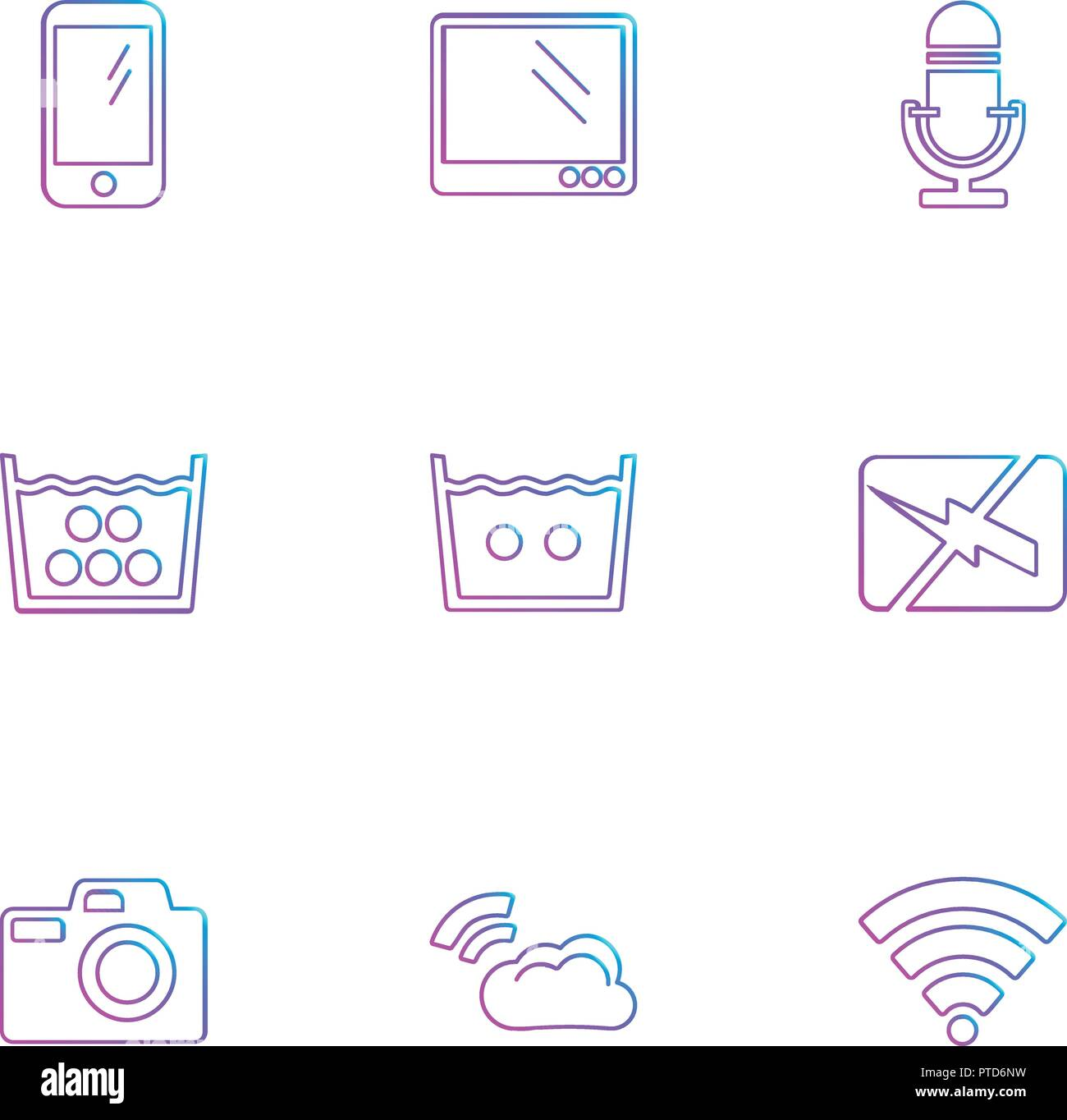 computer,  internet , multimedia , infrared , camera , technology , music , microphone , speaker, tv, wifi , network , battery , icon, vector, design, - Stock Image