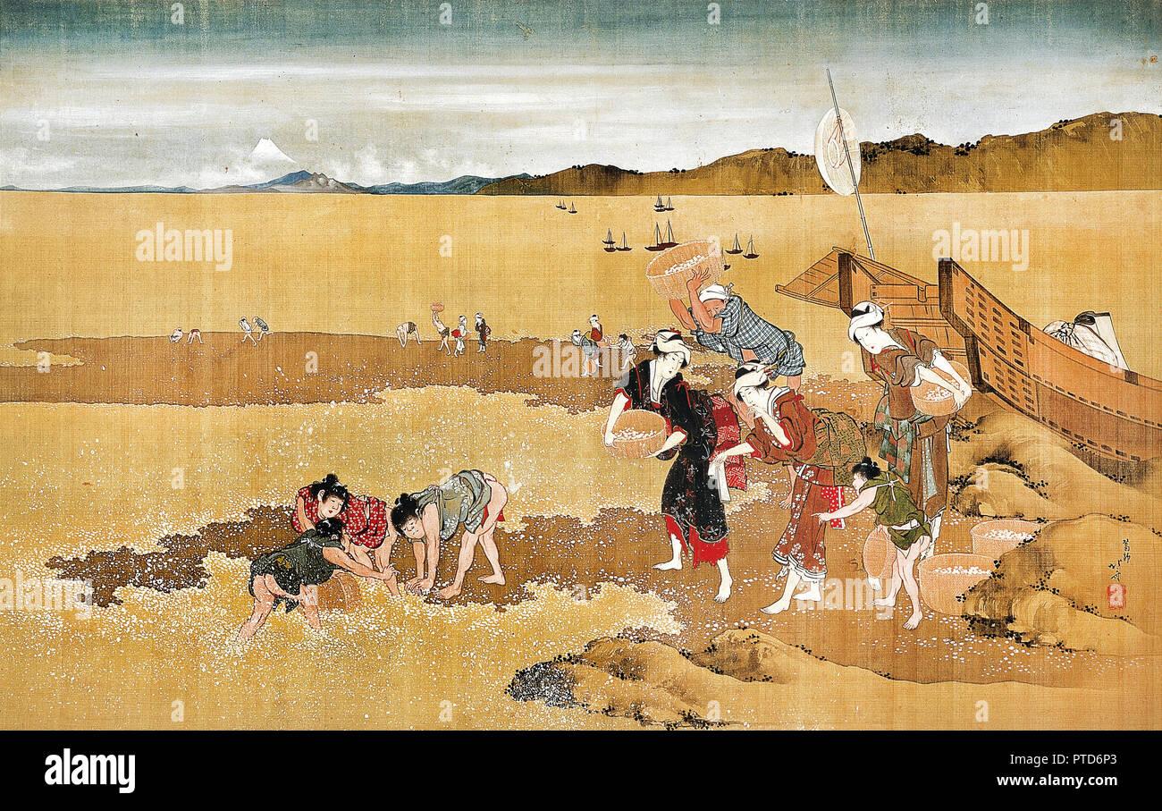 Katsushika Hokusai, Shell Gathering, Circa 1800-1849 Color woodblock print, Osaka City Museum of Fine Arts, Japan. - Stock Image