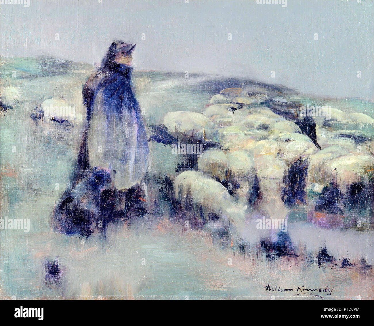 William Denholm Kennedy, A Shepherdess, Circa 1890-1895, Oil on canvas, Yale Center for British Art, New Haven, USA. - Stock Image