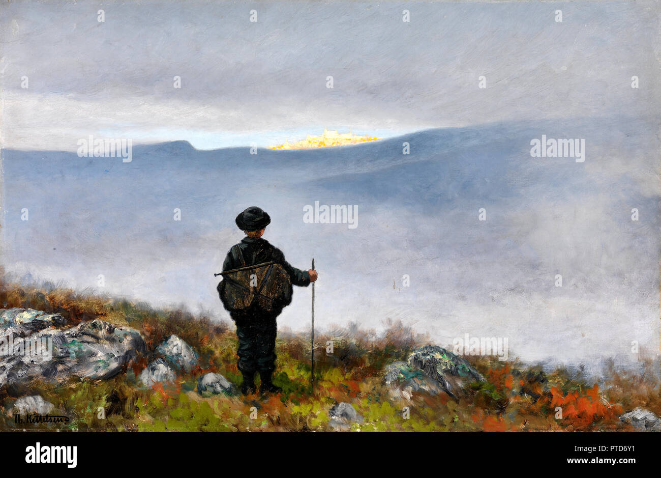 Theodor Kittelsen, Far, Far Away Soria Moria Palace Shimmered Like Gold, 1900 Oil on canvas, National Gallery of Norway, Oslo, Norway. - Stock Image
