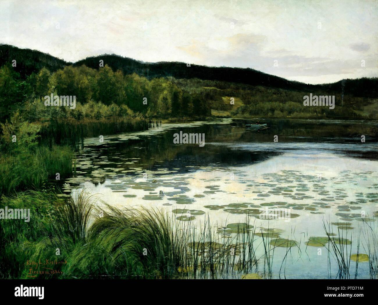 Kitty Lange Kielland, Summer Night 1886, Oil on canvas, National Gallery of Norway, Oslo, Norway. - Stock Image