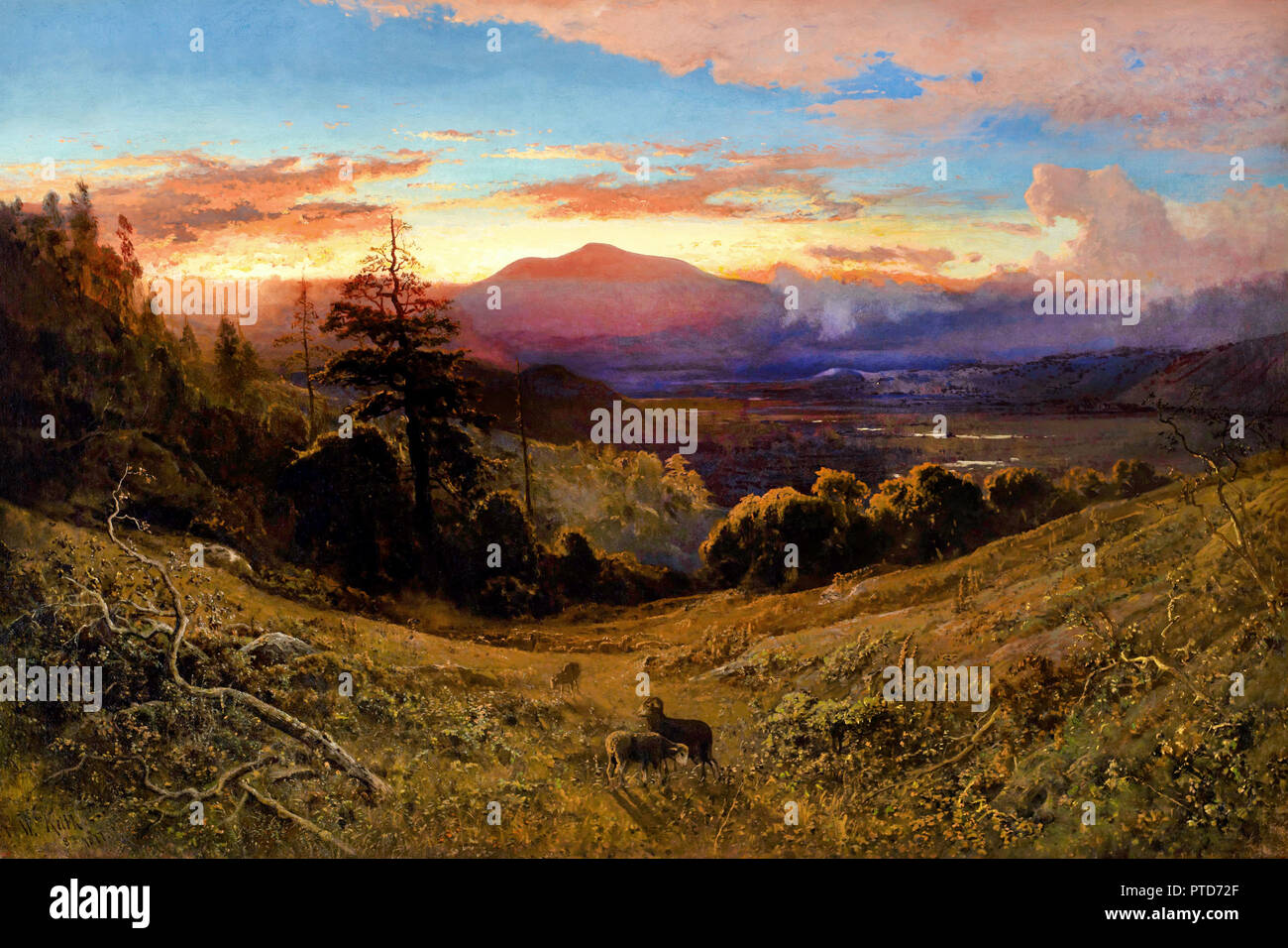 William Keith, Sunset on Mount Diablo / Marin Sunset 1877 Oil on canvas, Stanford University, USA. - Stock Image
