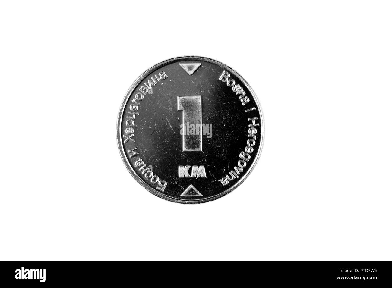 A macro image of a Bosnian 1 convertible mark coin isolated on a white background - Stock Image