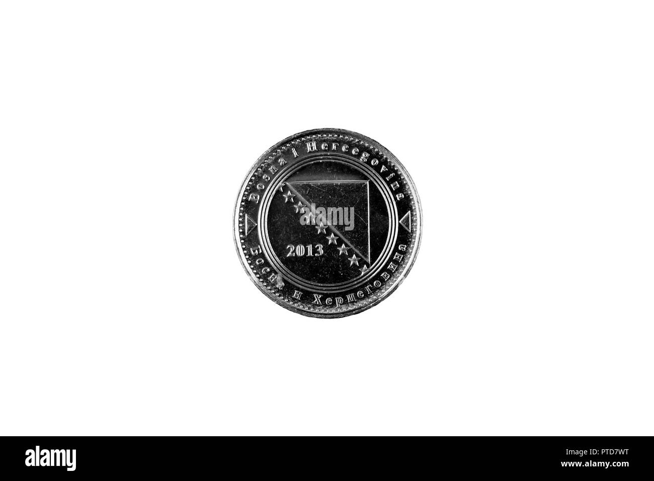 A macro image of a Bosnian 5 fenings coin isolated on a white background - Stock Image