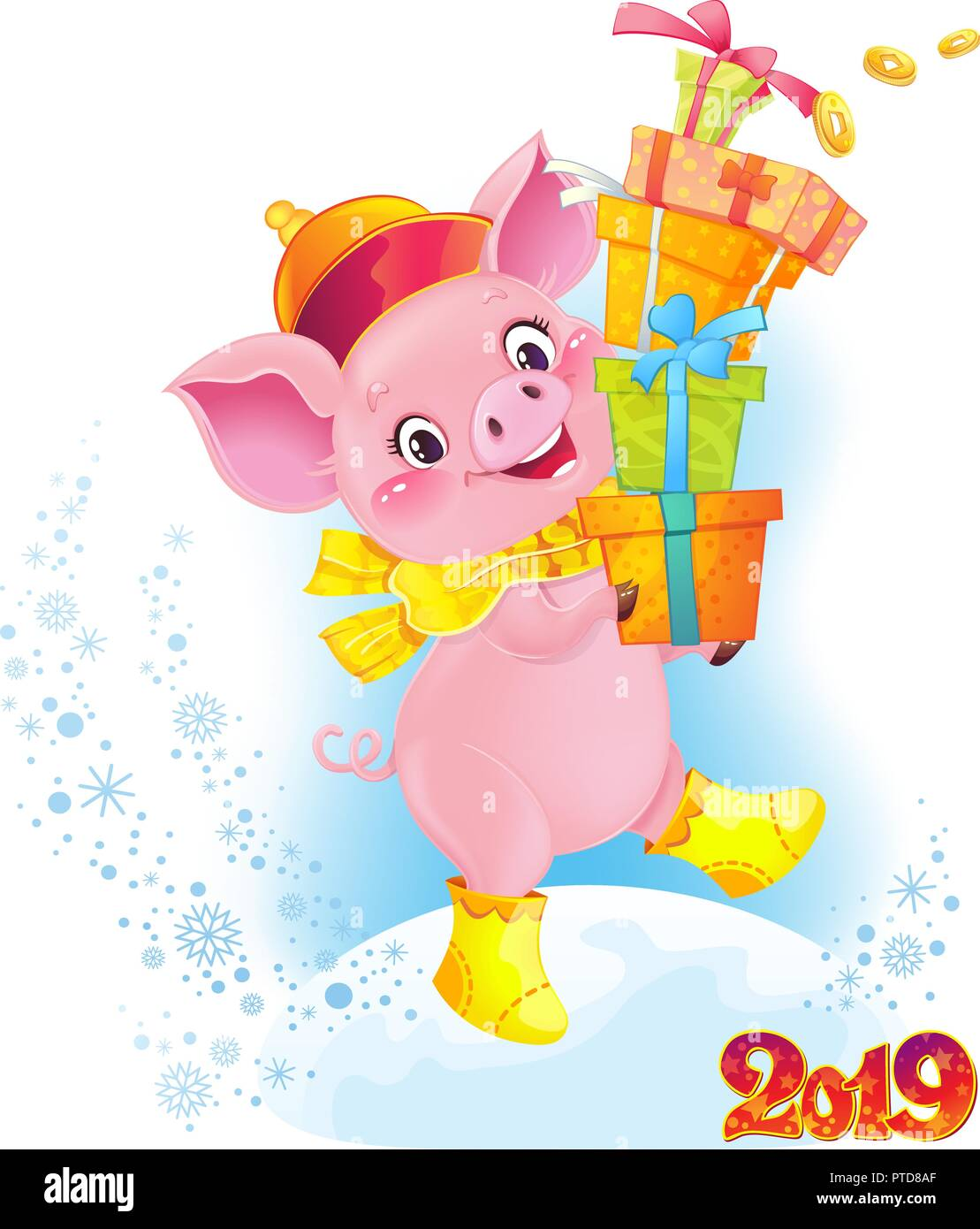 Yellow Earthy Pig With Gift Boxes Cute Symbol Of Chinese Horoscope