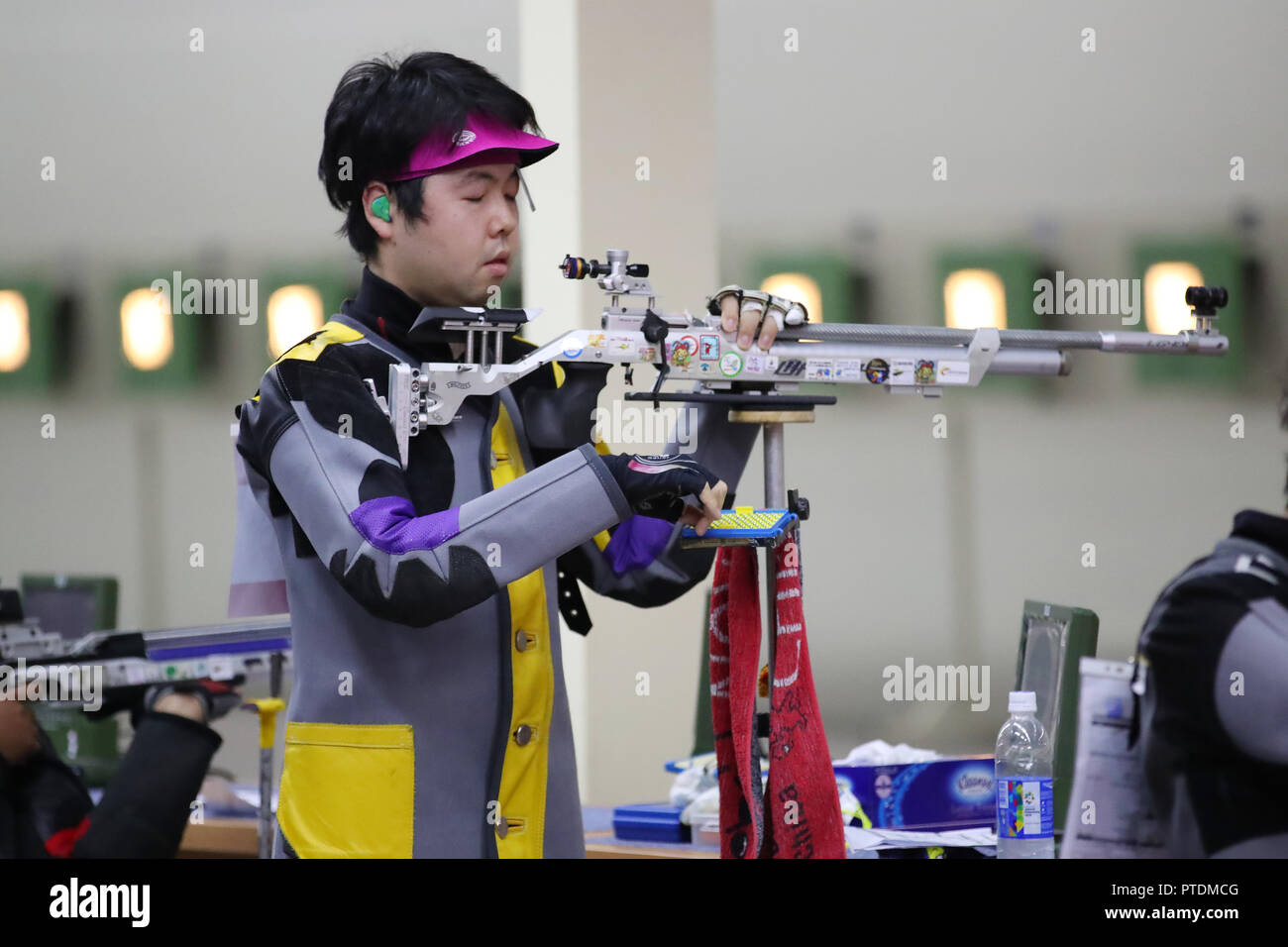 Jakarta, Indonesia. 8th Oct, 2018. Takahiro Mochizuki (JPN) Shooting : Men's 10m Air Rifle Standing - SH1 Qualification Round at GBK Shooting during the 3rd Asian Para Games in Jakarta, Indonesia . Credit: YUTAKA/AFLO SPORT/Alamy Live News - Stock Image