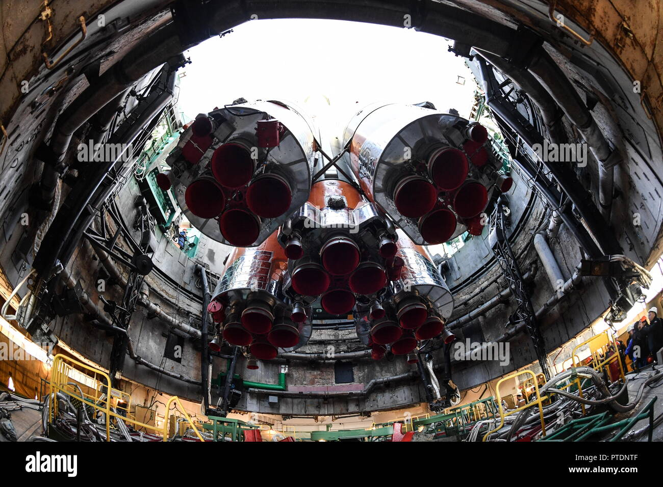 Kazakhstan. 09th Oct, 2018. KAZAKHSTAN - OCTOBER 9, 2018: Transporting a Soyuz-FG rocket booster with the Soyuz MS-10 spacecraft to a launch pad at the Baikonur Cosmodrome, the spacecraft scheduled to launch to the International Space Station (ISS) on October 11, 2018, at 11:40 am Moscow time, with Roscosmos cosmonaut Alexei Ovchinin and NASA astronaut Nick Hague of ISS Expedition 57/58 aboard. Alexei Filippov/RIA Novosti/POOL/TASS Credit: ITAR-TASS News Agency/Alamy Live News - Stock Image