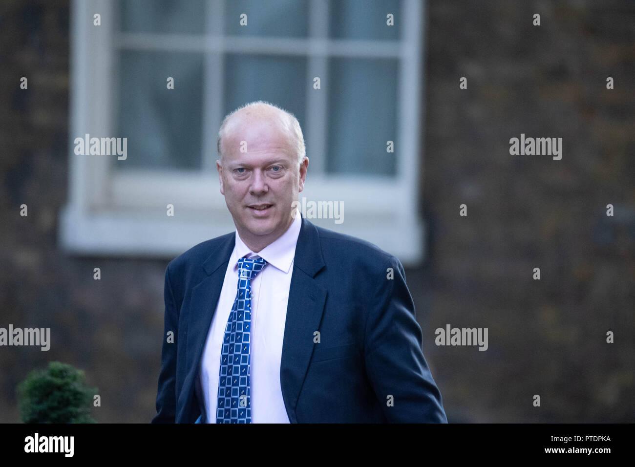London 9th October 2018, Chris Grayling MP PC, Transport Secretary,, arrives at a  Cabinet meeting at 10 Downing Street, London Credit Ian Davidson/Alamy Live News - Stock Image